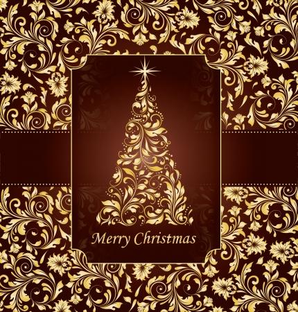 Vintage cartolina di Natale con albero Archivio Fotografico - 16614601