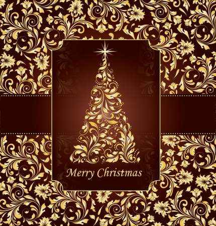 greeting card background: vintage christmas card with tree