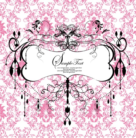 vintage postcard: pink floral background with abstract chandelier