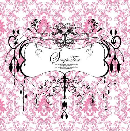 roze bloemen achtergrond met abstracte kroonluchter Stock Illustratie