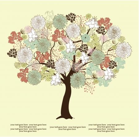 꽃, 자연의 기호 나무 실루엣 일러스트