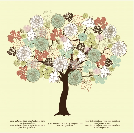 tree silhouette with flowers, symbol of nature Vector