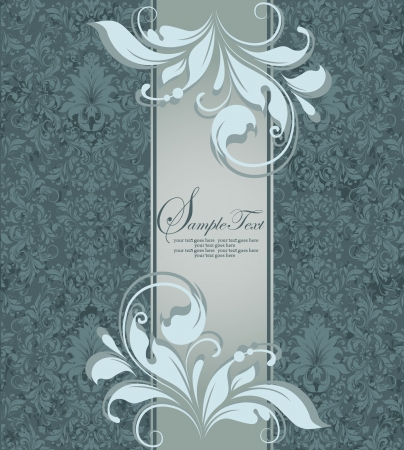 label frame: damask invitation or announcement card