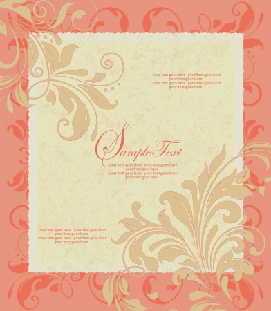 Invitation card style damask Vector