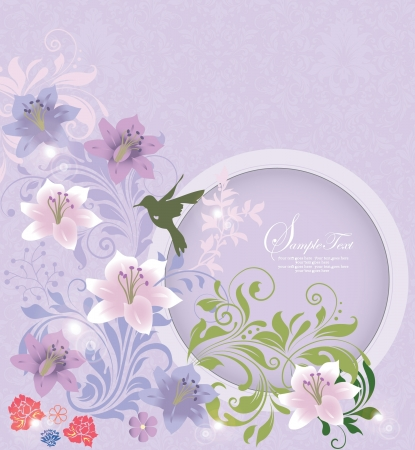 purple floral background with place for text Vector