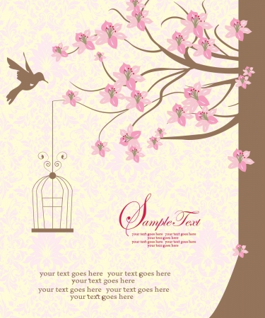 bird cage hanging from branch. invitation card