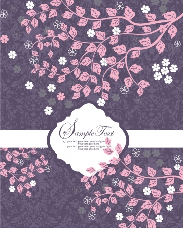invitation card with pink branch and leaf Vector