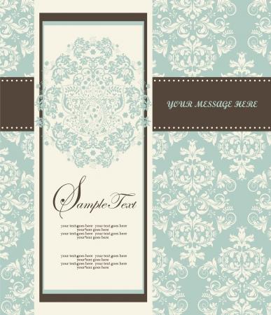 Invitation card style damask Illustration
