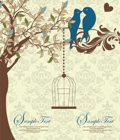 レトロ: 愛の鳥が木の結婚式の招待状に座っています。