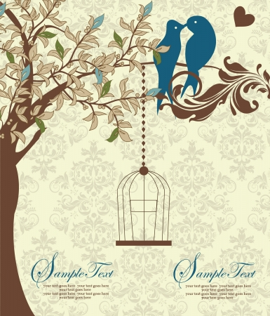 in a cage: Love Birds Sitting In a Tree Wedding Invitation
