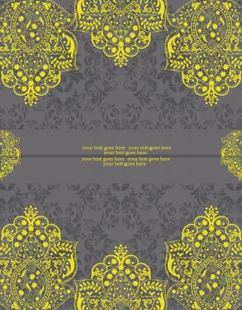 노란색과 회색 다 마스크 천 결혼식 안내장