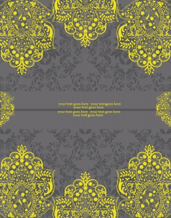 Yellow and Gray Damask Wedding Invitation