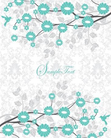 blue damask: flower branch turquoise bridal shower invitation Illustration
