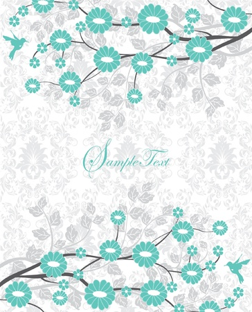 flower branch turquoise bridal shower invitation Illustration