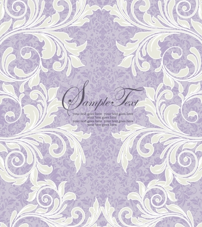 purple floral damask invitation card Vector