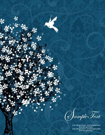 fiesta familiar: �rbol de silueta blanca sobre fondo azul damasco