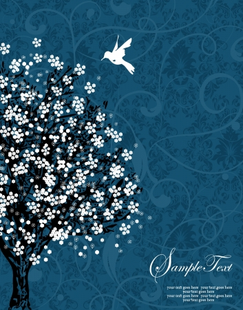 white tree silhouette on blue damask background