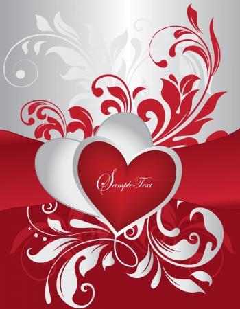 赤と銀のバレンタインデー カード