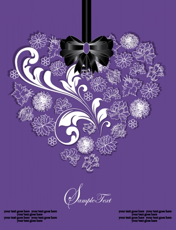 abstract floral heart on purple background Vector