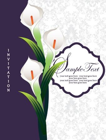 Calla lily, wedding invitation card