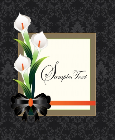 greeting card background: Calla lilies on black damask background