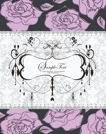 vintage paarse rozen bruiloft uitnodiging kaart