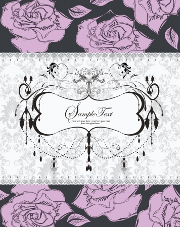 vintage purple roses wedding invitation card Vector
