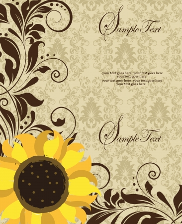 Sunflower Wedding Invitation. Brown and Yellow Vector