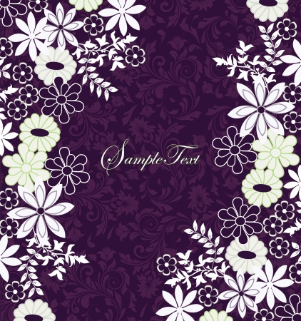 purple and white floral invitation card Vector