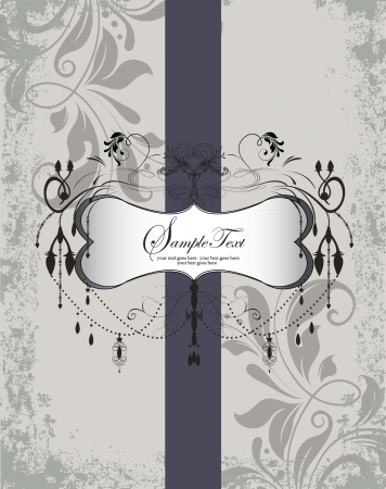 grey: Wedding Invitation. Elegant Gray Purple Floral Card
