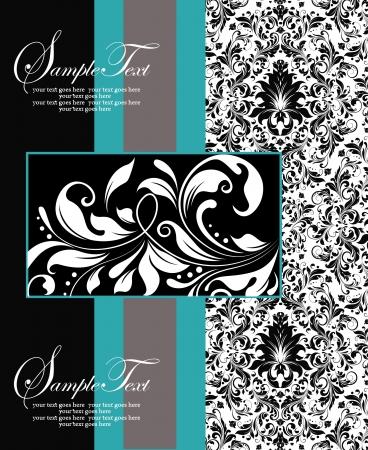 スワール: 青、黒と白のダマスク織カード