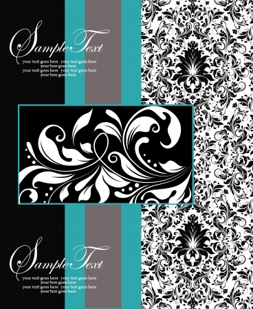 blue, black and white damask card