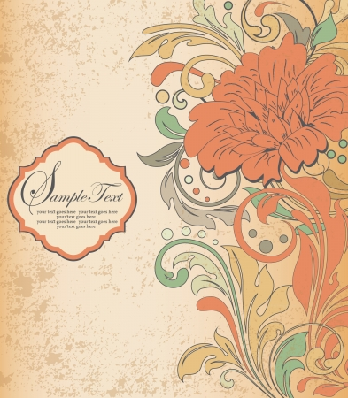 scroll shape: vintage orange floral invitation card