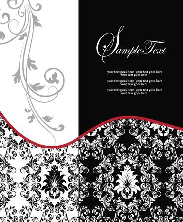 enchanting: red elegant damask wedding invitation Illustration