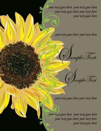 royal wedding: Vintage Elegant Sunflower Wedding Invitation Illustration