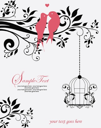 Love Birds Sitting In a Tree Wedding Invitation Stock Vector - 17856891