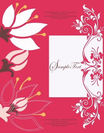 abstract red floral card Stock Vector - 17856893
