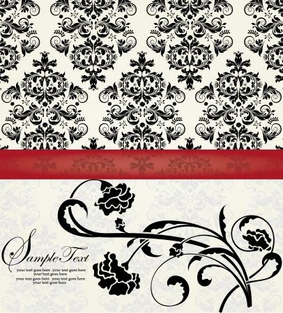 花のダマスク織の招待カード