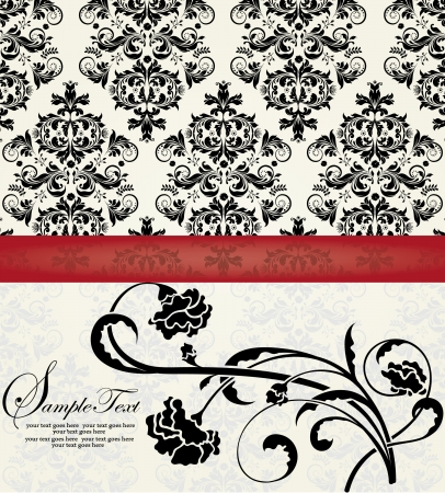 red carpet background: FLORAL DAMASK INVITATION CARD Illustration