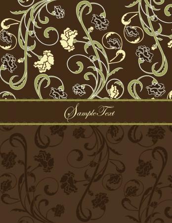kahverengi: brown floral card Çizim