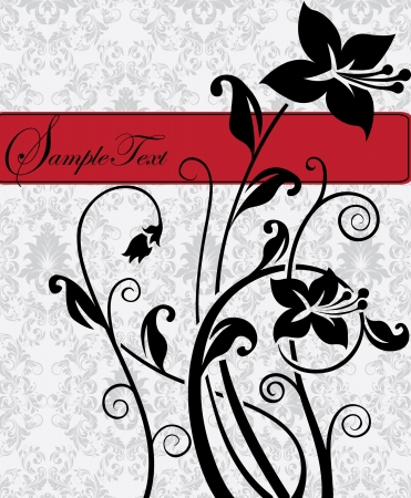 illustration with floral elements and place for text Stock Vector - 17970538