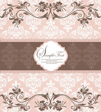 スワール: ピンクのヴィンテージのダマスク織の招待カード