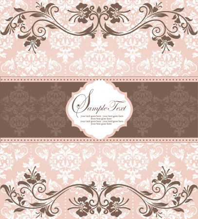 pink vintage damask invitation card Illustration