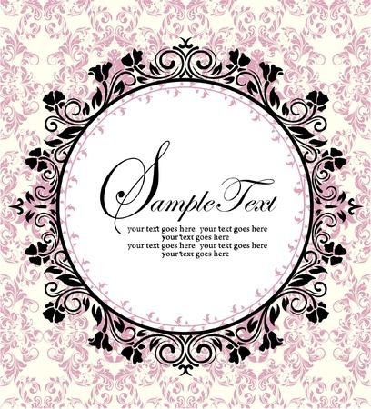 スワール: ピンクのダマスク織背景華やかなフレーム