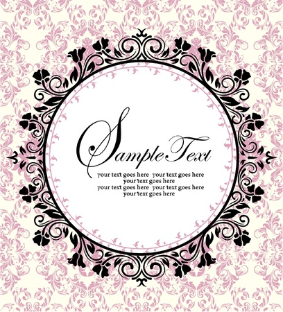 ornate frame on pink damask background 版權商用圖片 - 17970531