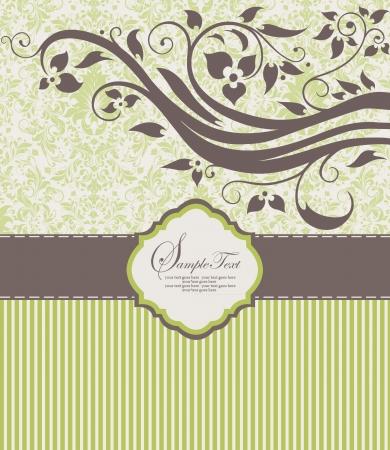 kahverengi: Çiçek süsleme ile davetiye eski kart Çizim