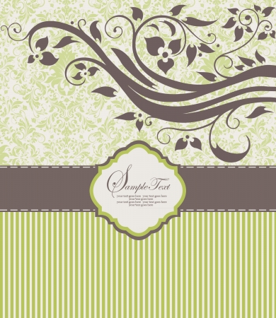 brown: Invitation vintage card with floral ornament