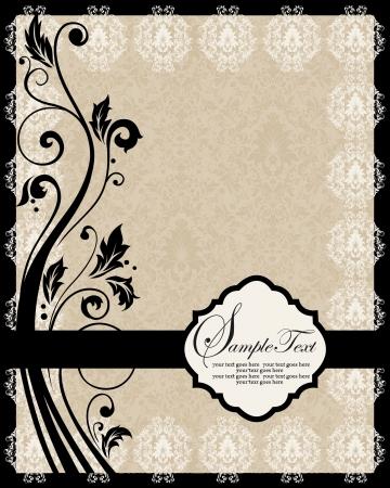 invitaci�n matrimonio: Invitaci�n tarjeta vendimia con el ornamento floral