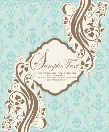 blue damask: vintage blue damask invitation with floral elements