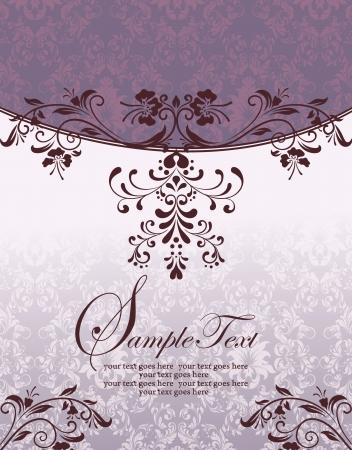 スワール: 紫の花のブライダル シャワーの招待状